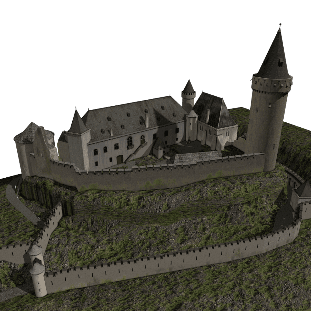 3D tekening van Kasteel Valkenburg