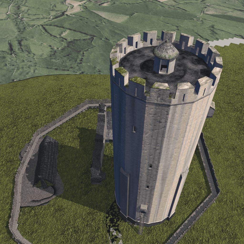 3D tekening van de toren van Kasteel Valkenburg